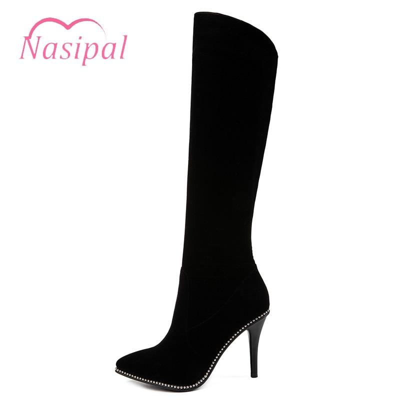 Stiletto Nasipal Pointu Chaussures Zapatos Noir Solide M513 Genou Bottes Femme Mujer Haute Mode Chevalier Bout Femmes Marque 0U0qwx175r