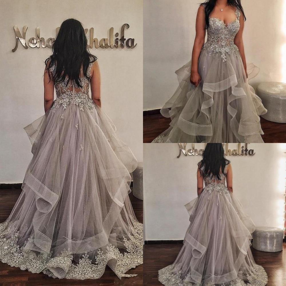 Elegant Evening Dresses abiye Long abendkleider Lace Evening Gowns A Line Robe De Soiree abiye robe longue Gray Evening Dress