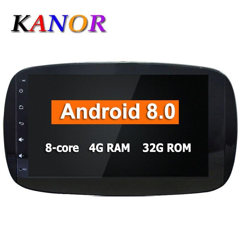 Autoradio Android 8.0 pour Mercedes Benz Smart 2016 système de Navigation multimédia GPS Octa Core CPU 4 + 32G écran IPS KANOR