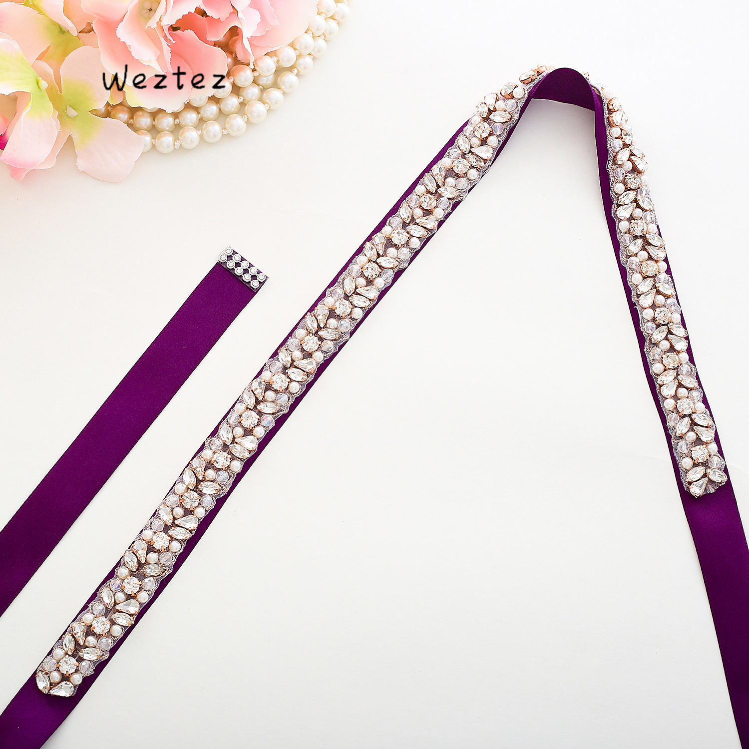 Wedding Belt Bridal Belt  Rhinestones Rose gold Crystal Handmade Diamond Wedding Sash for Bridal Accessories L134BRG