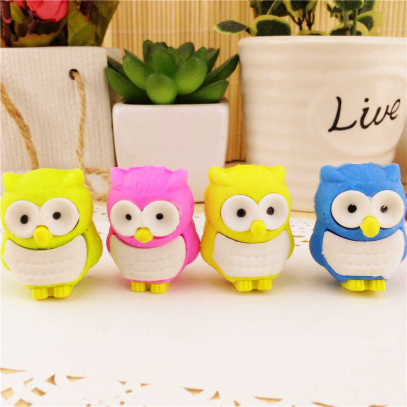 2pc/lot Creative Cartoon Cute Owl Animal Rubber Eraser/ Stationery For Children Students/gift Eraser