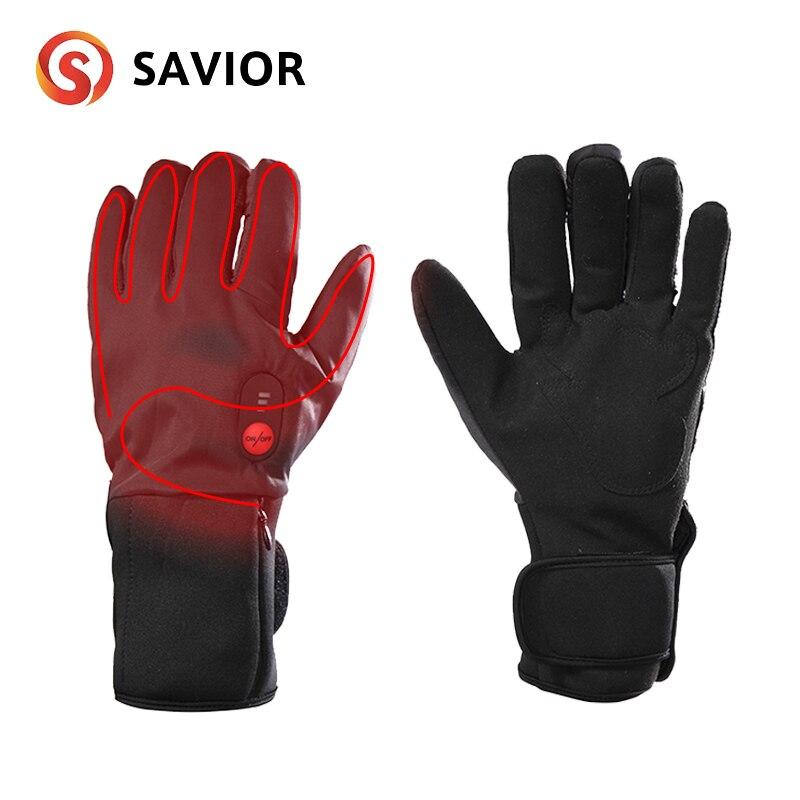 Спаситель зимние теплые перчатки для мужчин и женщин езда 7,4 V электрические перчатки велосипед Спорт на открытом воздухе перчатки с подогревом
