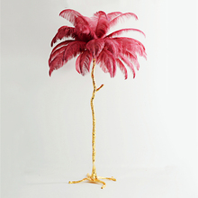 Modern Simple Ostrich Feathers Copper Floor Lamp Standing for Living Room Bedroom Lights Home Decor Indoor Lighting
