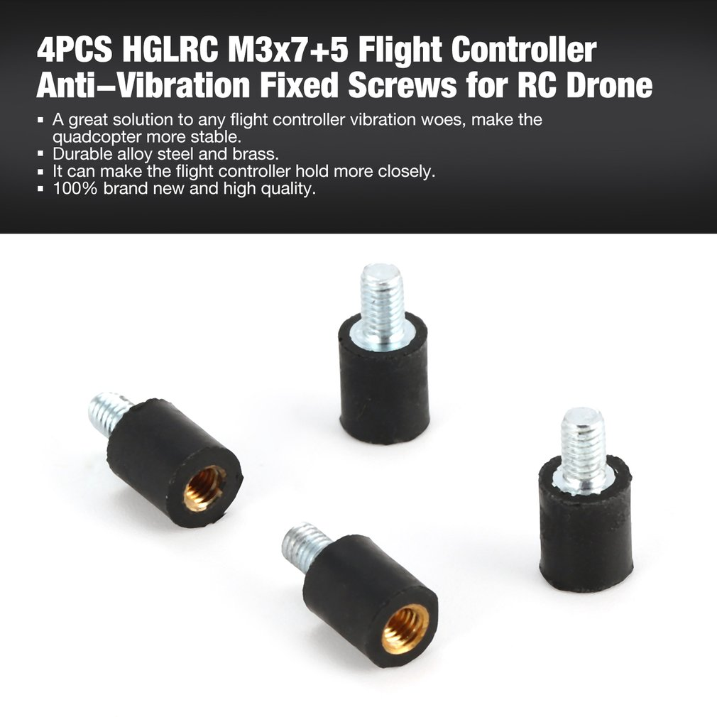 4pcs Hglrc M3x7+5 Flight Controller Anti Vibration Damper Damping Fixed Screws For Rc Models Multicopter Spare Parts Toys & Hobbies Remote Control Toys