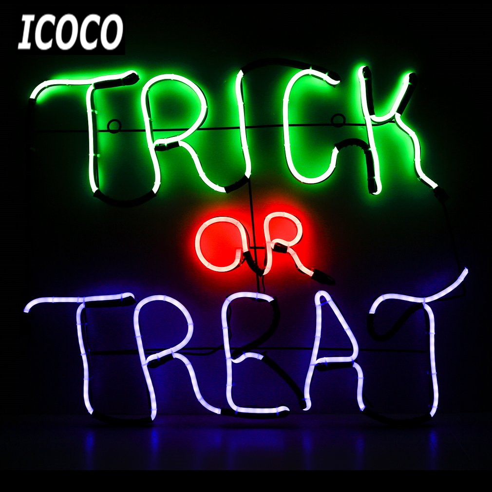 ICOCO 1pcs High Quality Neon Sign Light Plate TRICK OR TREAT Shape Wall Light for Halloween Party Home Decor Sale 5piece 100% new npce985la0dx npce985laodx qfp 128 chipset