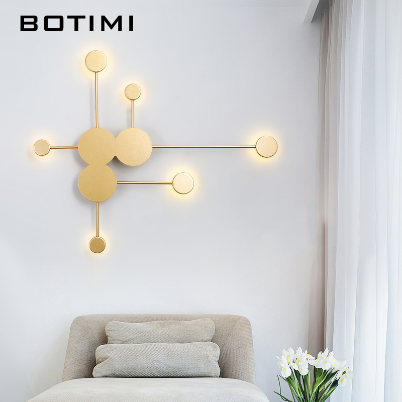 BOTIMI Modern LED Golden Wall Lights For Living Room Decor Black Metal Wall Sconce Modern White Wall Mounted Lighting Fixtures BOTIMI Modern LED Golden Wall Lights For Living Room Decor Black Metal Wall Sconce Modern White Wall Mounted Lighting Fixtures