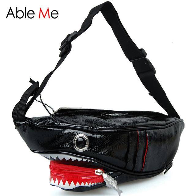 3D Tubarão Forma Cintura Pacotes de Presente Para Adolescentes Meninas E Meninos Moda Bolso No Peito Lona Durável E PU Saco Crossbody