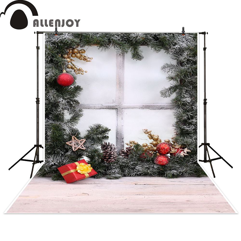 Allenjoy photography backdrop Christmas snow celebrate gift window background photocall photographic photo studio photobooth