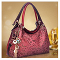 New Brand Women Bag Hollow Out Ombre Handbag Floral Print Shoulder Bags Ladies Pu Leather Tote Bag Red/gray/blue