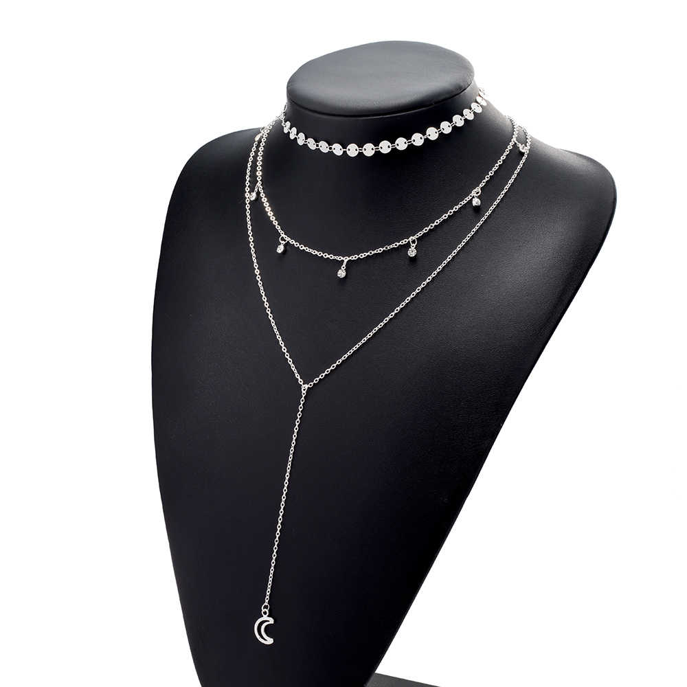 IPARAM, богемное многослойное ожерелье, вафельная цепочка, Хрустальная подвеска, ожерелье с Луной, многослойное этническое женское Подарочное ювелирное изделие