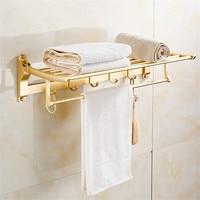 Wholesale Bathroom Towel Racks Foldable Golden/Rose gold Finished Towel Holder Wall Mounted 60cm Aluminum Towel Shelf With Hooks