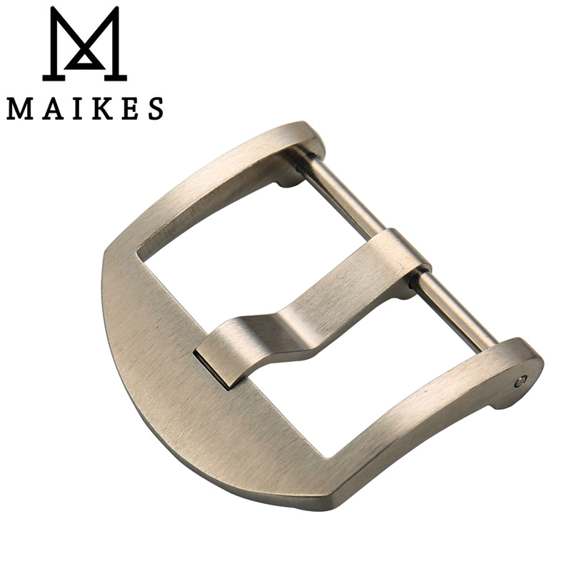 MAIKES 316L stainless steel pin watch buckle 20 22 24 silver black watch clasp brushed for panerai of watchband strap