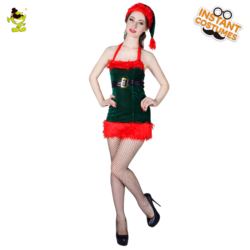 Women's Green&Red Sexy Xmas Girl Costumes Adult Christmas Party Glamourous Western Xmas Goddess Dress-up Fancy Dress with Hat