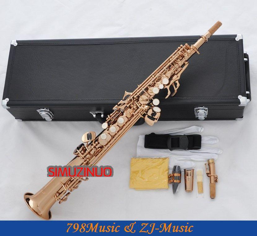 Profesionální růžová zlatá rovná sopránka Sax Saxophone High F # G NOVINKA