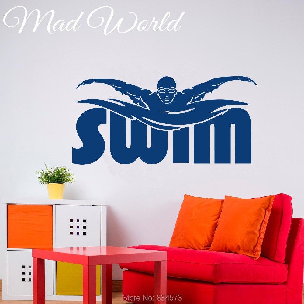 Pazzo mondo nuotare piscina swimmer sport wall art for Adesivi per piscine