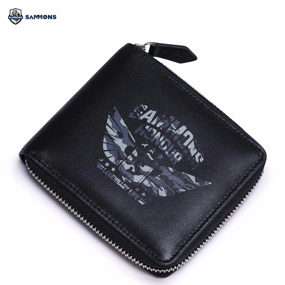 ФОТО SAMMONS Brand Design Fashion Military Medal Printing Genuine Cow Leather Zipper Men Small Short Wallets Cards Holder