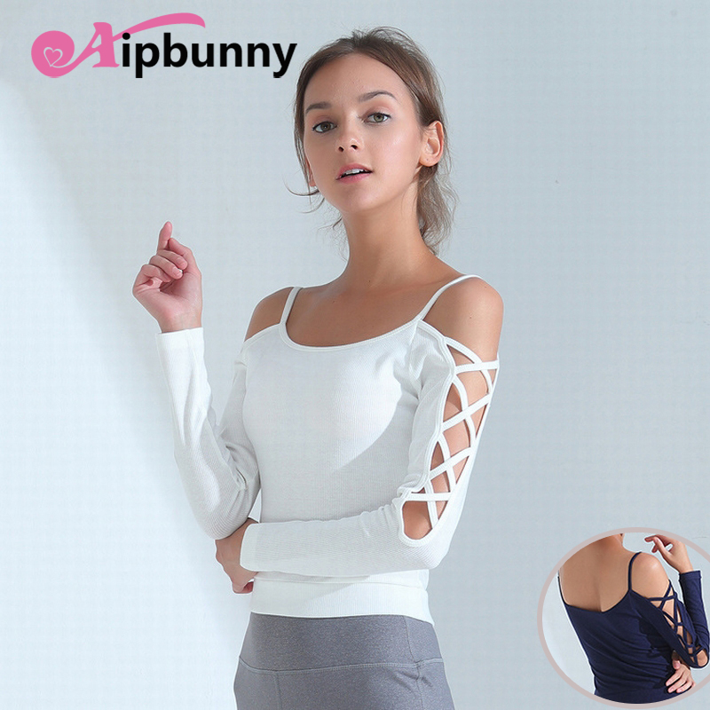 Aipbunny Sexy Off Shoulder Yoga Top Sport T Shirts Women Quick Dry Fitness Clothing Yoga Shirt Sports Jerseys Gym Running Tops