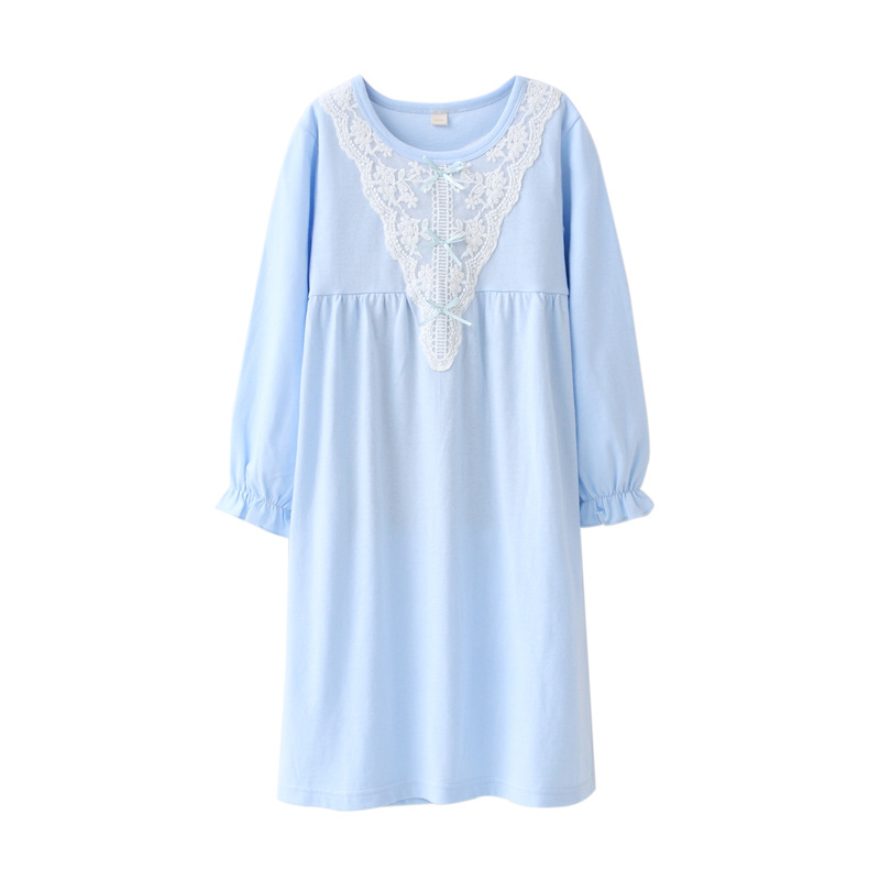 Girls Nightgowns Spring Autumn Princess Long Sleeve Nightdress Knitted Pajamas Sleepwear Children Kids Girl Nightgown spring new women long dress nightgowns white short sleeved nightdress royal vintage sweet princess sleepwear dress free shipping