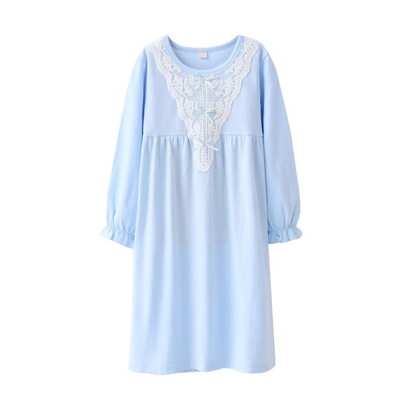 купить Girls Nightgowns Spring Autumn Princess Long Sleeve Nightdress Knitted Pajamas Sleepwear Children Kids Girl Nightgown по цене 737.32 рублей