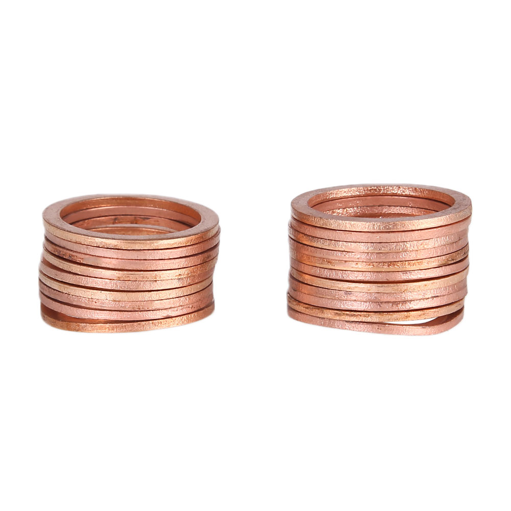 20PCS/Pack Copper Washer Solid Gasket Sump Plug Oil Seal Fittings 22x28x1.5mm Tool Parts Accessories Drop Shipping