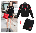 2015 New Spring Women Casual Clothing Set Cute Mouse Knited Sweater Black Slim Tight Skirt