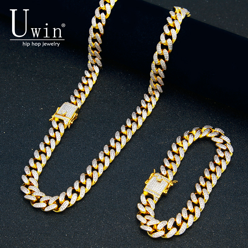 UWIN 13mm CZ Cuban Necklace Bracelet Set Micro Paved Hip Hop Cubic Zirconia Iced Out Two