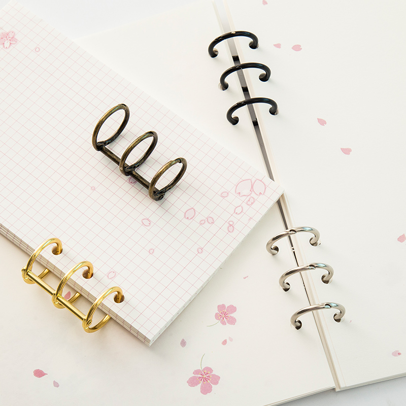 Metal Plated Loose Leaf Book Binder Hinged Ring Binding Rings Nickel Desk Calendar Circle 3 Rings For Card Key Album