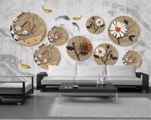 Beibehang Custom 3d wallpaper mural High quality silk material flowers goldfish Hotel Cafe background wall