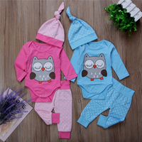 Cute Twins Owl Clothes Set Newborn Baby Girl Boy Long Sleeve Romper Pants Hat 3pcs 2017