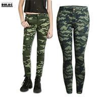 2018 Fashion Women Ankle Length Denim Military Pencil Pant Pocket Stretch Low Waist Zipper Print Green Camouflage Skinny Jeans
