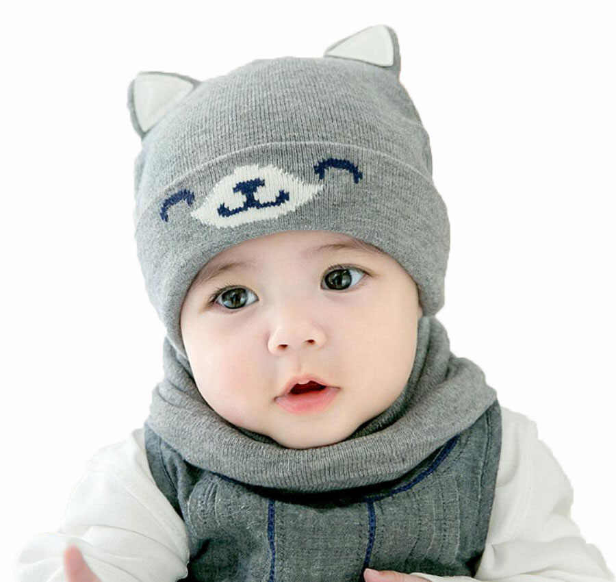 561d4128a73808 ... Baby Boy Caps Winter Girl Hats And Ring Scarves Set Cotton Kids Beanies  Cap Scarf Collar ...