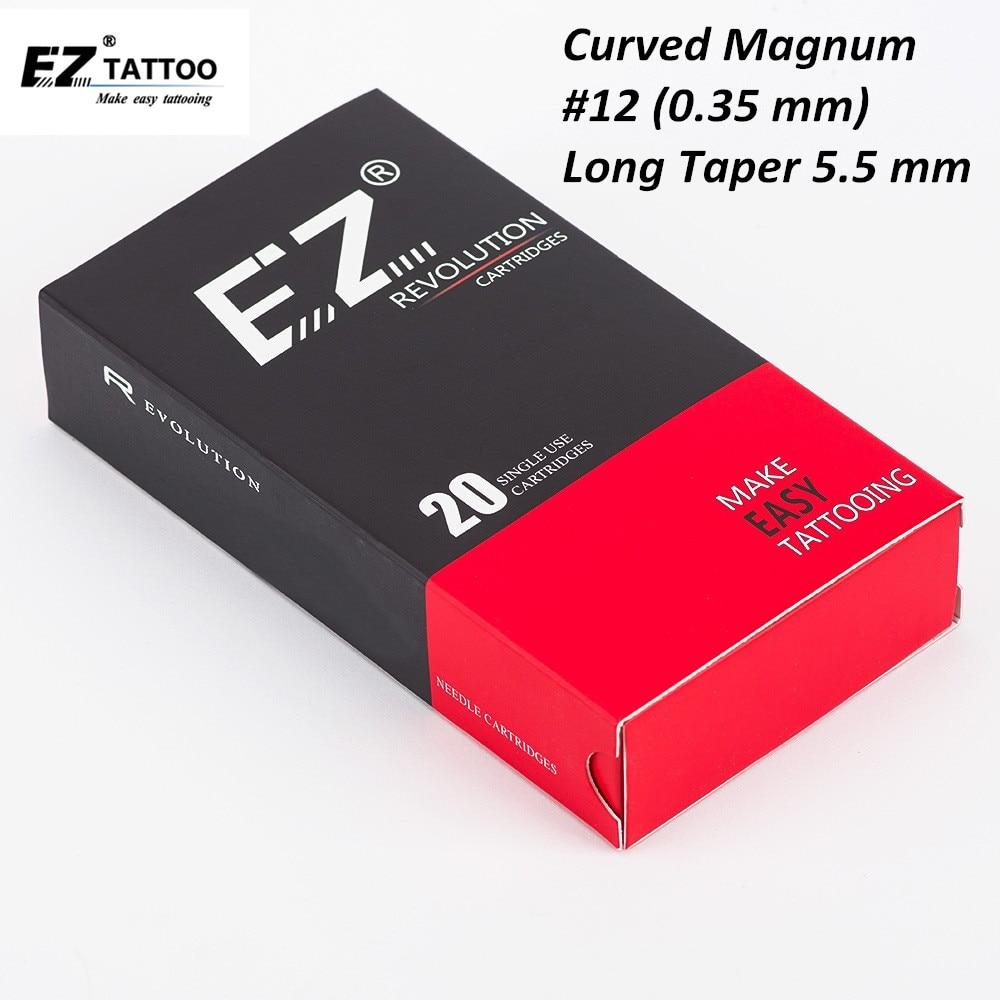 EZ Revolution Cartridge Needles Curved Magnum Tattoo Needles #12 (0.35 Mm) Compatible With Cartridge Machine Grips 20 Pcs/Box