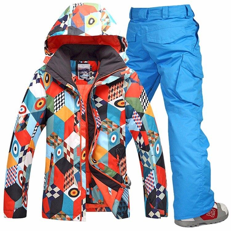 Prix pour GSOU SNOW hommes définit d'hiver en plein air Snowboard ski veste + pantalon de ski de neige vêtements coupe-vent Veste imperméable chaud vêtements