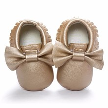 Shoes Baby  First Walker Solid PU Leather Crib Bowknot Toddler Shoes Casual Non-slip Sapatilha Infantil