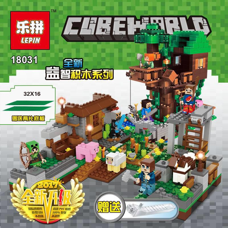 In stock Lepin 18031 1075pcs My World The Legoing Mine World Tree House Square Set Building Block Brick Kid Toys Birthday Gifts 3 12mm 220v electric multi tool grinding machine twist drill bit sharpener grinder