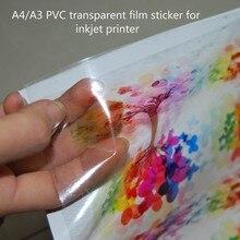 Etiqueta transparente do vinil do pvc do tamanho a4 com autoadesivo para a impressora a jato de tinta da tintura 10 peças