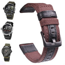 лучшая цена HENGRC Nylon Watch Strap Band Men Sport Nato 20 22 24mm Black Green Coffee Watchbands Stainless Steel Buckle Clasp Accessories