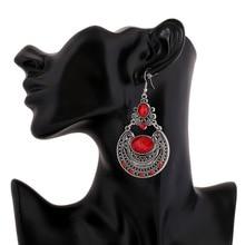Бренд Бохо красный цвет большой драгоценный камень кристалл цыганские этнические висячие серьги Винтажные бусины Круглые серьги для женщин ювелирные изделия оптом