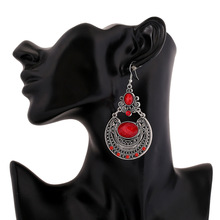 2017 brand boho red Color Big gem Crystal Gypsy Ethnic drop Earrings Vintage beads circle Earrings For Women Jewelry wholesale