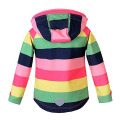 Hiheart children's clothing girl Stripe coat spring Clothes warm polar fleece 2017 new Korean version of autumn rainbow