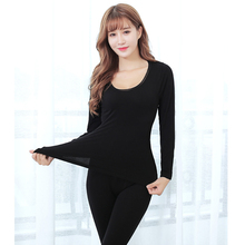2pcs Suit Thin Round Neck Women Thermal Underwears Tops+Pants Slim Ladies Underwear Bottoms Solid Color Bottoming Shirt