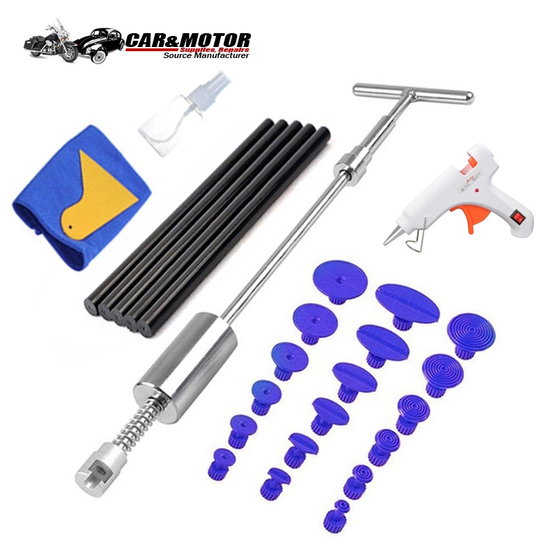 PDR Tools Car Paintless Dent Removal Tool Kit Dent Repair Puller Kit Slide Reverse Hammer Glue Tabs Suction Cups For Hail Damage