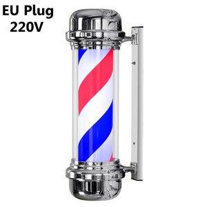 Image 4 - 110V/220V LED Barber Shop Zeichen Pol Licht Rot Weiß Blauen Streifen Design Roating Salon Wand Hängen licht Lampe Schönheit Salon Lampe