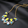 Knitted Ethnic Hyperbole Vintage Statement Gem Flower Collar Necklace For Women N552