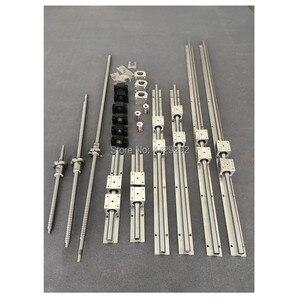 SBR 20 carril de guía lineal 6 set SBR20-300/600/1000mm + juego de tornillos de bola SFU1605-350/650/1050mm + BK12 BF12 piezas CNC
