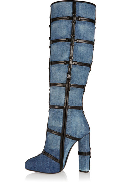 Sexy Women Blue Jeans Thick Heel Boots Round Toe Know Thigh High Boots Chunky Heels Winter Long Boots Big Size 10 Free Ship lady big size 4 15 tassel nubuck leather velvet women boots round toe mid calf winter boot thick high heel boots 3colors