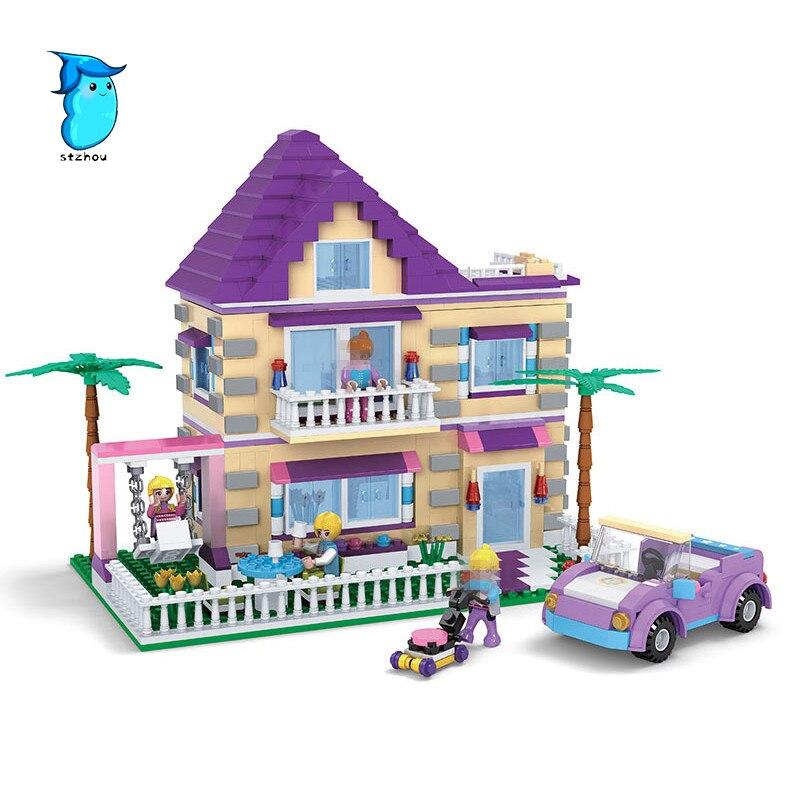 StZhou Girl Series Building Blocks Princess Villa Model Building Block Educational Blocks DIY Bricks Playmobil Toys For Children