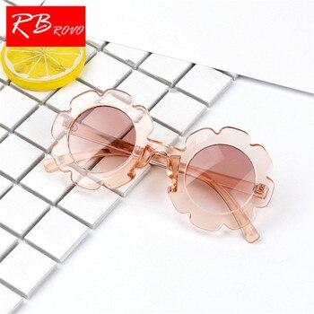 eba7ae7c65 Gafas De Sol De Gel De sílice De flores RBROVO 2018 para niños gafas De Sol  De viaje al aire libre De Color caramelo