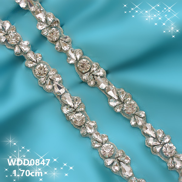 10 YARDS Wholesale bridal hand beaded silver crystal rhinestone applique trim iron on for wedding