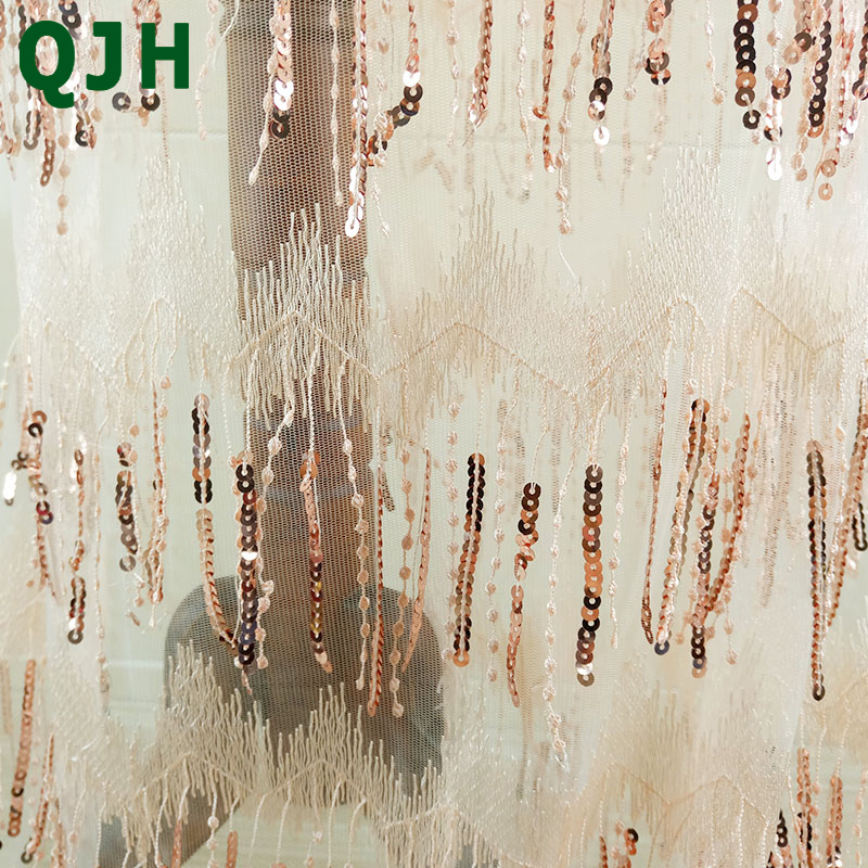 5Y High Quality 3D Sequin Tassel Embroidery Mesh Nigerian Lace Fabric Delicate Tulle Wedding Dress Fabrics Patchwork Accessory